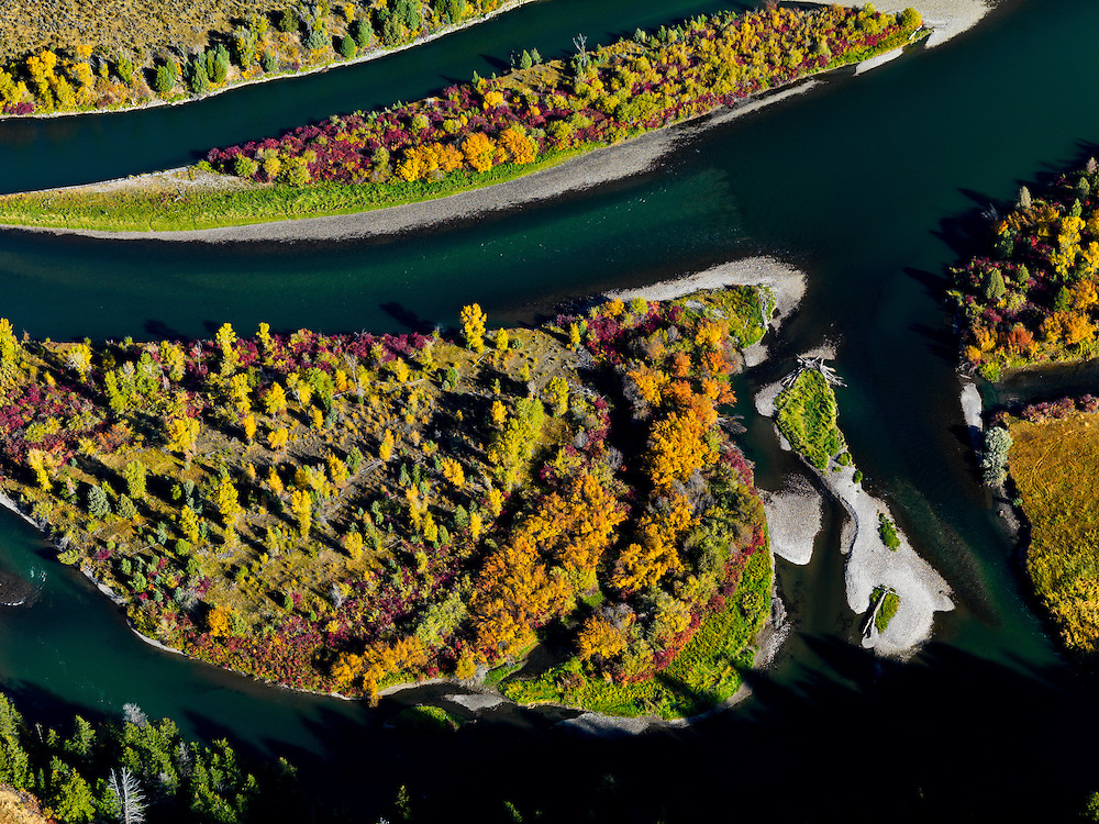 Aerial detail view of the South Fork of the Snake River with islands and gravel bars up river from the town of Ririe in Eastern Idaho in autumn color