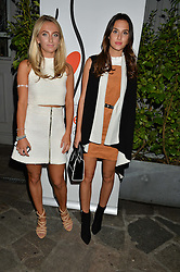 Left to right, sisters TIFFANY WATSON and LUCY WATSON at a reception hosted by Tiffany Watson in aid of The Eve Appeal held at The Phene, 9 Phene Street, London on 8th September 2015.