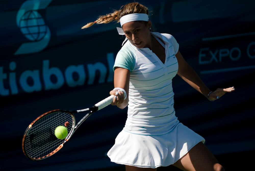 Oct. 17, 2011 - Guadalajara, Mexico - Mailen Auroux of Argentina returns the ball to Adriana M. Perez of Venezuela in the women's Tennis Singles match during the 2011 XVI Pan American Games at Tennis Complex Telcel in Ciudad Guadalajara, Mexico.©Benjamin B Morris