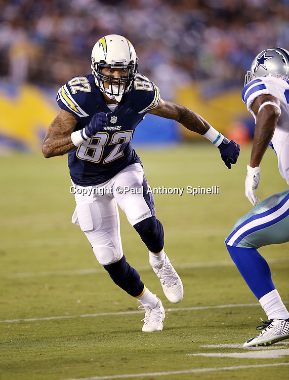 San Diego Chargers wide receiver Austin Pettis (82) goes out for a pass during the 2015 NFL preseason football game against the Dallas Cowboys on Thursday, Aug. 13, 2015 in San Diego. The Chargers won the game 17-7. (©Paul Anthony Spinelli)