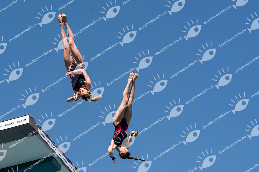 BOWER Ruby BANKS Phoebe GBR silver medal<br /> Women's 10m synchronised platform final<br /> 23rd FINA Diving Grand Prix 2017 Trofeo UnipolSai<br /> Bolzano ITA<br /> July 05 - 07, 2017<br /> Day03 07-07-2017<br /> Photo Giorgio Perottino/Deepbluemedia/Insidefoto