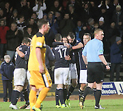 Kevin McBride celebrates with Kyle Benedictus and Declan Gallagher after scoring Dundee's second goal - Dundee v Dumbarton, SPFL Championship at Dens Park<br /> <br />  - &copy; David Young - www.davidyoungphoto.co.uk - email: davidyoungphoto@gmail.com
