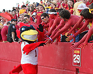 September 3, 2009: Iowa State mascot Cy in the student section during the first half of the Iowa State Cyclones' 34-17 win over the North Dakota State Bison at Jack Trice Stadium in Ames, Iowa on September 3, 2009.