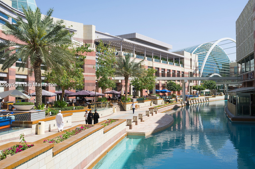 View of modern Festival City modern shopping and leisure complex in Dubai United Arab Emirates