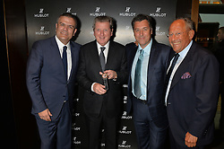 On 25th April 2014 in London at the Hublot Boutique in New Bond Street, Ricardo Guadalupe, CEO of Hublot, presented Roy Hodgson, the Manager of the England National football team, with a watch that has been created and named in his honour. The Hublot King Power 66 Hodgson is a Limited Edition of 66 pieces to commemorate the year that England won the World Cup. The idea was hatched from Roy's son Christopher who also collaborated with Hublot on the design of this amazing piece. The presentation was followed by a tour and a dinner at the House of Commons that was attended by Hublot VIP customers.<br /> <br /> PICTURE SHOWS:- Ricardo Guadalupe, CEO of Hublot, Roy Hodgson, the Manager of the England National football team, Rick de la Croix and Marcus Margulies.