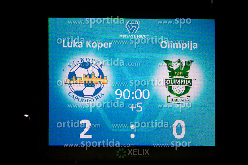 Result during football match between NK Luka Koper and NK Olimpija in 17th Round of Slovenian First League PrvaLiga NZS 2012/13 on November 7, 2012 in Sports centre, Koper, Slovenia. (Photo By Urban Urbanc / Sportida.com)