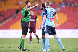 January 8, 2018 - Brisbane, QUEENSLAND, AUSTRALIA - Referee Kris Griffith-Jones (left) shouts at Matthew Simon of Sydney (18, right) during the round fifteen Hyundai A-League match between the Brisbane Roar and Sydney FC at Suncorp Stadium on Monday, January 8, 2018 in Brisbane, Australia. (Credit Image: © Albert Perez via ZUMA Wire)