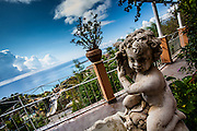 Cherub fountain over the Mediterranean, Taormina, Sicily, Italy
