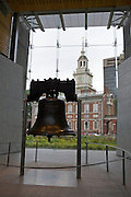 UNITED STATES-PHILADELPHIA-The Liberty Bell and Independence Hall. COPYRIGHT GERRIT DE HEUS