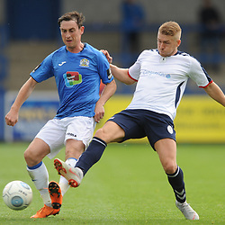 TELFORD COPYRIGHT MIKE SHERIDAN 15/9/2018 - Sam Walker of Stockport and Darryl Knights of AFC Telford during the Vanarama Conference North fixture between AFC Telford United and Stockport County.