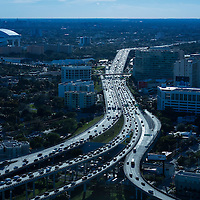 I-395 from the air looking west near Marlins' Stadium and Jackson Memorial Hospital