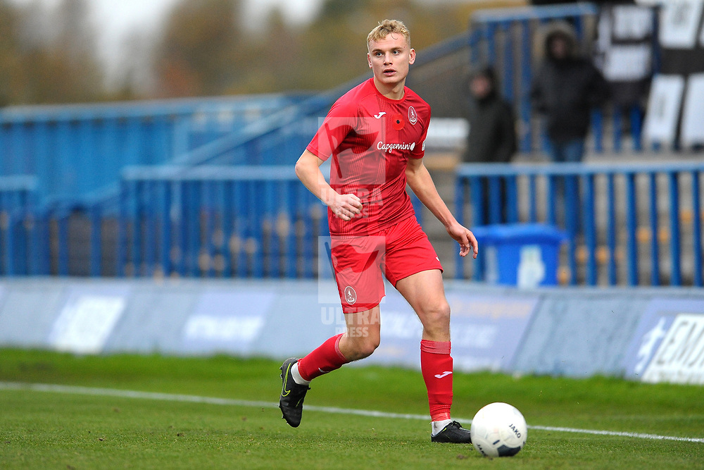 TELFORD COPYRIGHT MIKE SHERIDAN William Sass-Davies of Telford (on loan from Crewe Alexandra) during the Vanarama National League Conference North fixture between Curzon Asthon and AFC Telford United on Saturday, November 9, 2019.<br /> <br /> Picture credit: Mike Sheridan/Ultrapress<br /> <br /> MS201920-028