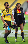 Hurricanes no 8 Victor Vito and Chiefs second five Tana Umaga after the match. Super 15 rugby match - Hurricanes v Chiefs at Westpac Stadium, Wellington, New Zealand on Saturday, 12 March 2011. Photo: Dave Lintott / photosport.co.nz