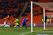 Oldham attack and go close to taking the lead during the Sky Bet League 1 match between Blackpool and Oldham Athletic at Bloomfield Road, Blackpool, England on 16 February 2016. Photo by Pete Burns.