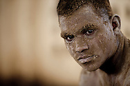 Portrait of a Kushti wrestler taking a break from his practice, Varanasi, India