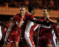 Photo: Jed Wee.<br /> Middlesbrough v Nuneaton Borough. The FA Cup. 17/01/2006.<br /> <br /> Middlesbrough's Lee Cattermole (L) silences the crowd as his team mates celebrate their second goal.