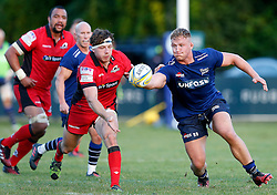Hamish Watson of Edinburgh Rugby competes with Jack Cosgrove of Sale Sharks - Mandatory by-line: Matt McNulty/JMP - 19 August 2016 - RUGBY - Heywood Road Stadium - Manchester, England - Sale Sharks v Edinburgh Rugby - Pre-Season Friendly