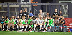 NEW YORK, NEW YORK, USA - Wednesday, July 24, 2019: Liverpool's Divock Origi and captain Jordan Henderson on the bench during a friendly match between Liverpool FC and Sporting Clube de Portugal at the Yankee Stadium on day nine of the club's pre-season tour of America. (Pic by David Rawcliffe/Propaganda)