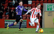 Cheltenham's Harry Williams on the attack during the Sky Bet League 2 match between Cheltenham Town and Morecambe at Whaddon Road, Cheltenham, England on 16 January 2015. Photo by Alan Franklin.