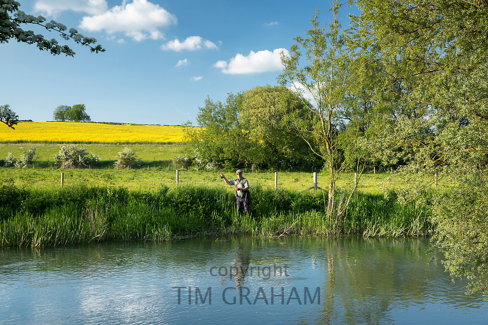Fisherman fly fishing in The River Windrush in late Spring / early Summer near Burford in the Oxfordshire Cotswolds, UK