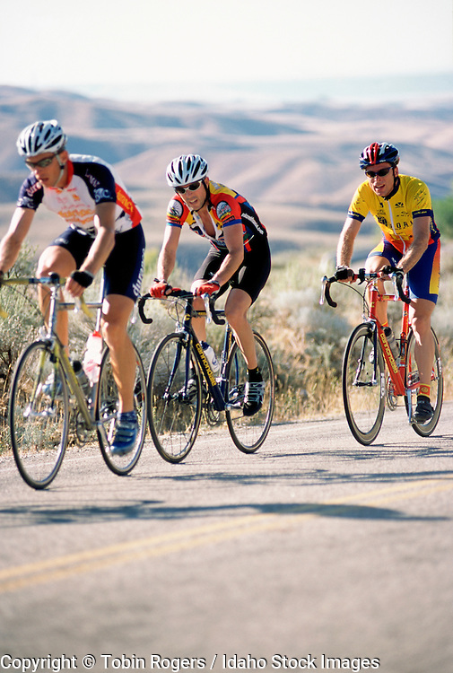 IDAHO . Ada County . Boise . Road biker races in Bogus Hill Climb to the top of Bogus Basin Road with foothills in background in summer .