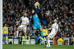 14.02.2015, Estadio Santiago Bernabeu, Madrid, ESP, Primera Division, Real Madrid vs Deportivo La Coruna, 23. Runde, im Bild Real Madrid&acute;s Alvaro Arbeloa and Karim Benzema and Deportivo de la Coruna&acute;s Fabricio // during the Spanish Primera Division 23rd round match between Real Madrid vs Deportivo La Coruna at the Estadio Santiago Bernabeu in Madrid, Spain on 2015/02/14. EXPA Pictures &copy; 2015, PhotoCredit: EXPA/ Alterphotos/ Victor Blanco<br /> <br /> *****ATTENTION - OUT of ESP, SUI*****