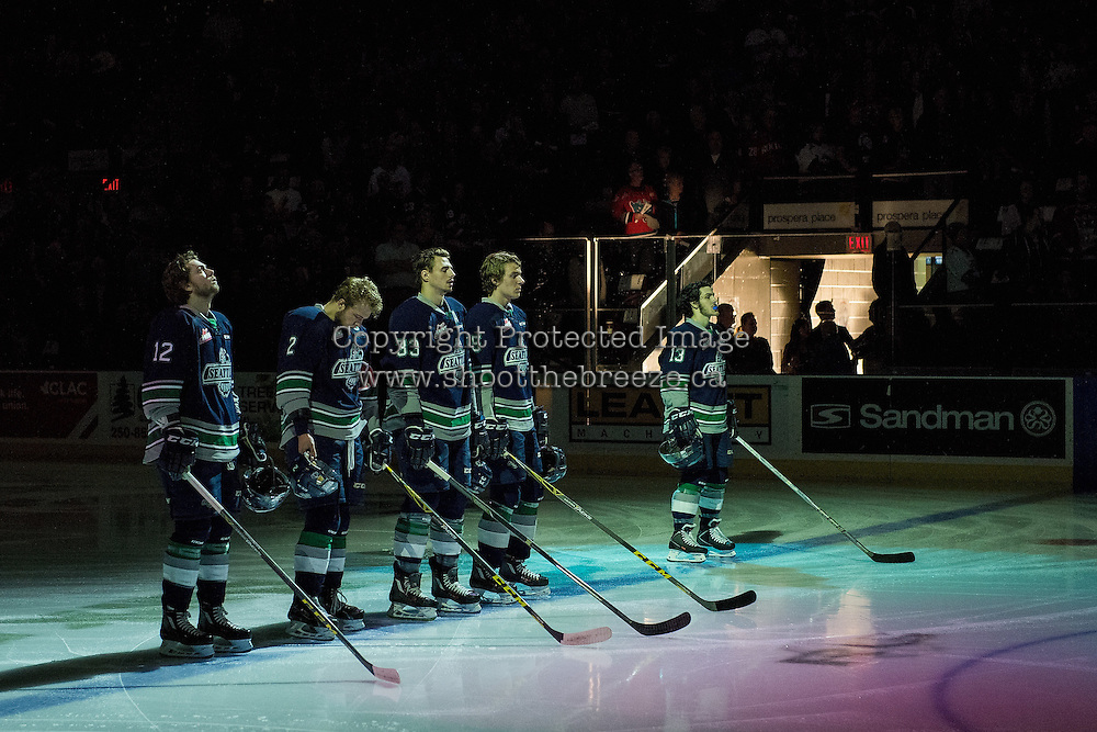 KELOWNA, CANADA - APRIL 22: The Seattle Thunderbirds line up at the Kelowna Rockets on April 22, 2016 at Prospera Place in Kelowna, British Columbia, Canada.  (Photo by Marissa Baecker/Shoot the Breeze)  *** Local Caption *** line up