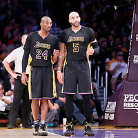 28 November 2014: Los Angeles Lakers forward Carlos Boozer (5) talks to Los Angeles Lakers guard Kobe Bryant (24) during the Minnesota Timberwolves 120-119 victory over the Los Angeles Lakers, at the Staples Center, Los Angeles, California, USA.