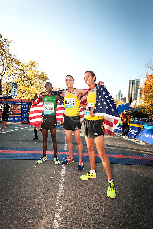NYRR Dash to the Finish Line 5K road race: top three meale finishers Chelanga, Willis, Braun