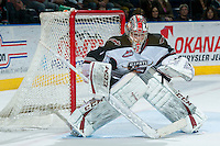 KELOWNA, CANADA - MARCH 15: Payton Lee #1 of the Vancouver Giants defends the net against the Kelowna Rockets on March 15, 2014 at Prospera Place in Kelowna, British Columbia, Canada.   (Photo by Marissa Baecker/Getty Images)  *** Local Caption *** Payton Lee;