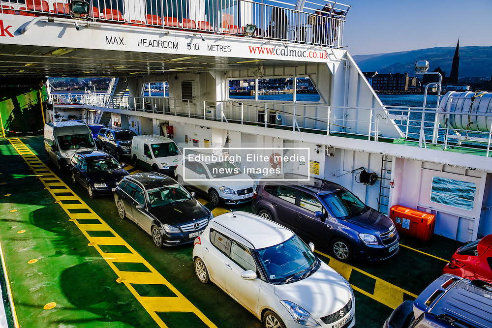 Vehicles aboard the Calmac ferry 'Loch Shira' en route from Largs on the Scottish mainland to the island of Great Cumbrae<br /> <br /> (c) Andrew Wilson | Edinburgh Elite media