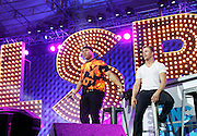 LL Cool J and Derek Hough appear during the Lip Synch Battle Live at SummerStage in Rumsey Playfield Central Park in New York City, New York on July 13, 2015.