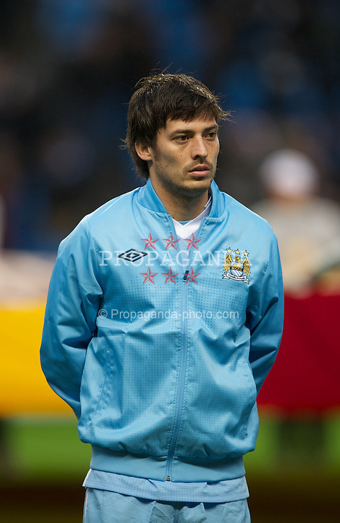 MANCHESTER, ENGLAND - Wednesday, February 22, 2012: Manchester City's David Silva before the UEFA Europa League Round of 32 2nd Leg match against FC Porto at City of Manchester Stadium. (Pic by David Rawcliffe/Propaganda)