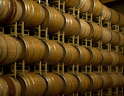 Wine barrels in storage