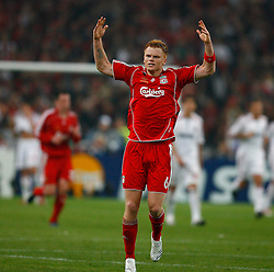 Athens, Greece - Wednesday, May 23, 2007: Liverpool's John Arne Riise celebrates the only goal scored by Dirk Kuyt during the UEFA Champions League Final against AC Milan at the OACA Spyro Louis Olympic Stadium. (Pic by David Rawcliffe/Propaganda)