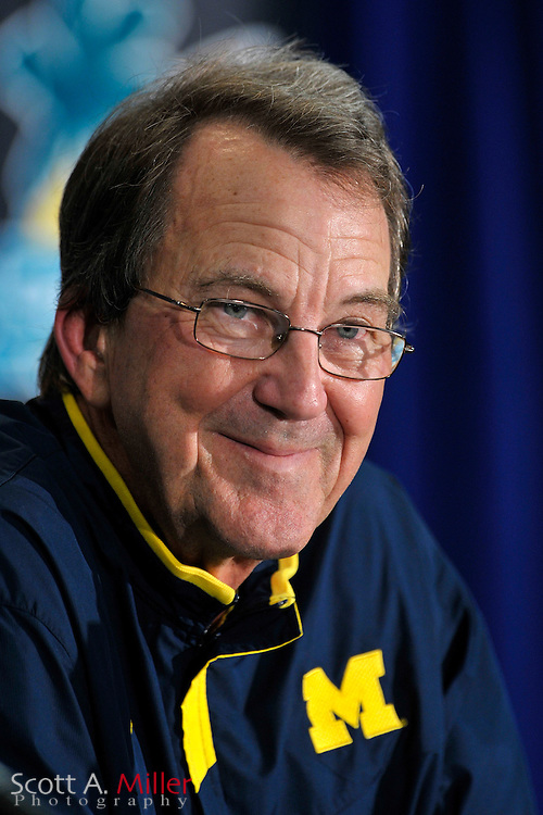 Jan. 1, 2008; Orlando, FL, USA; Michigan Wolverines coach Lloyd Carr following his team's 41-35 win over the Florida Gators in the Capital One Bowl at the Citrus Bowl. It was Carr's final game as coach...©2008 Scott A. Miller