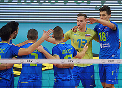 Jani Kovacic #13, Dejan Vincic #9, Alen Pajenk #2, Klemen Cebulj #18 during volleyball match between National teams of Netherlands and Slovenia in Playoff of 2015 CEV Volleyball European Championship - Men, on October 13, 2015 in Arena Armeec, Sofia, Bulgaria. Photo by Ronald Hoogendoorn / Sportida