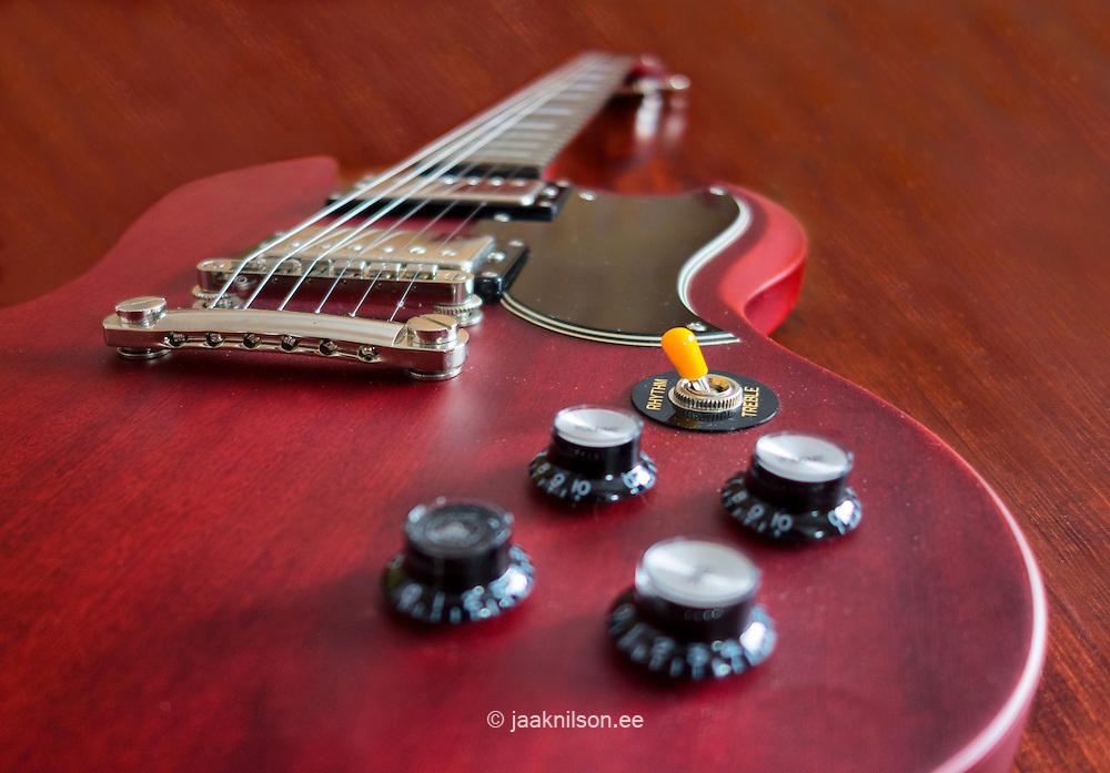 Close-up of electric guitar. Selective focus.