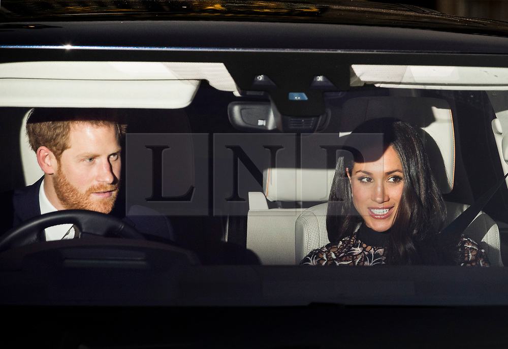 © Licensed to London News Pictures. 20/12/2017. London, UK. Prince Harry and Meghan Markle leave Buckingham Palace after attending the Queen's annual Christmas lunch. Photo credit: Peter Macdiarmid/LNP