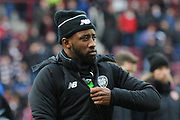 Moussa Dembele feels the cold at the Ladbrokes Scottish Premiership match between Heart of Midlothian and Celtic at Tynecastle Stadium, Gorgie, Scotland on 17 December 2017. Photo by Kevin Murray.