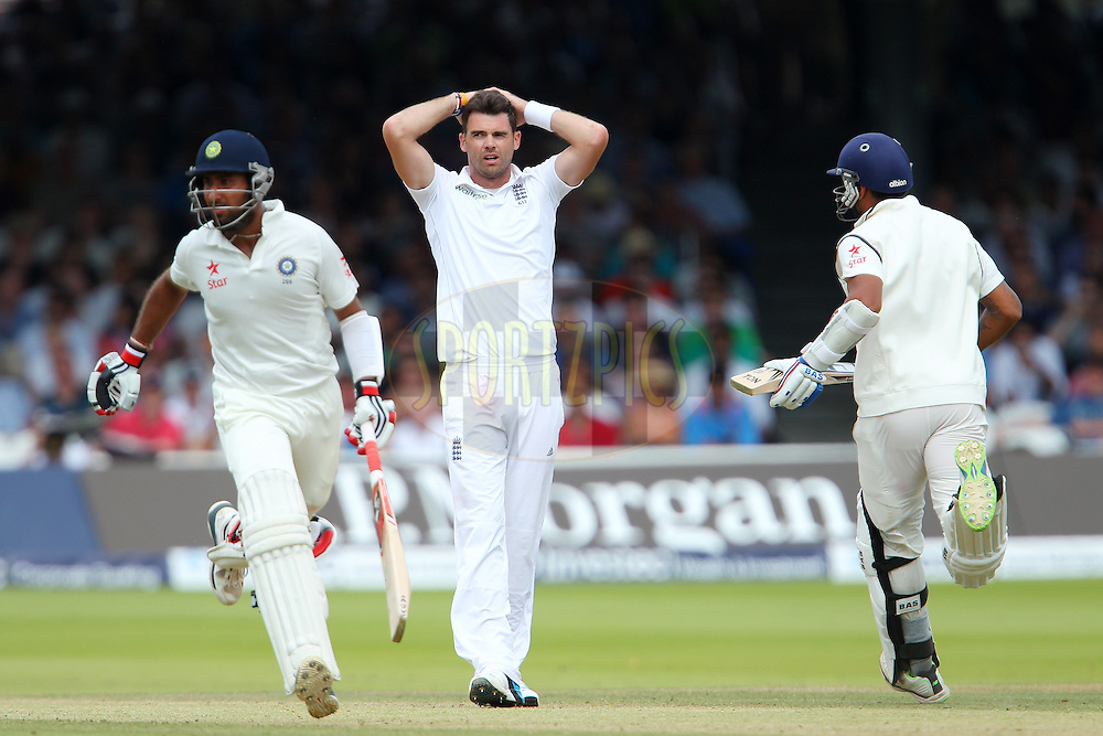 James Anderson of England reacts after a delivery during day three of the 2nd Investec test match between England and India held at Lords cricket ground in London, England on the 19th July 2014<br /> <br /> Photo by Ron Gaunt / SPORTZPICS/ BCCI