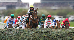 LIVERPOOL, ENGLAND, Thursday, April 7, 2011: 16-year-old jockey Willie Twiston-Davies riding Baby Run jumps Bechers Brook in the lead on his way to winning the John Smith's Fox Hunters' Steeple Chase during Liverpool Day on Day One of the Aintree Grand National Festival at Aintree Racecourse. (Photo by David Rawcliffe/Propaganda)