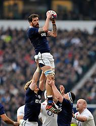 Jim Hamilton of Scotland wins the ball at a lineout - Photo mandatory by-line: Patrick Khachfe/JMP - Mobile: 07966 386802 14/03/2015 - SPORT - RUGBY UNION - London - Twickenham Stadium - England v Scotland - Six Nations Championship