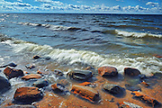 Rocks on shore of Lake Nipissing<br /> North Bay<br /> Ontario<br /> Canada