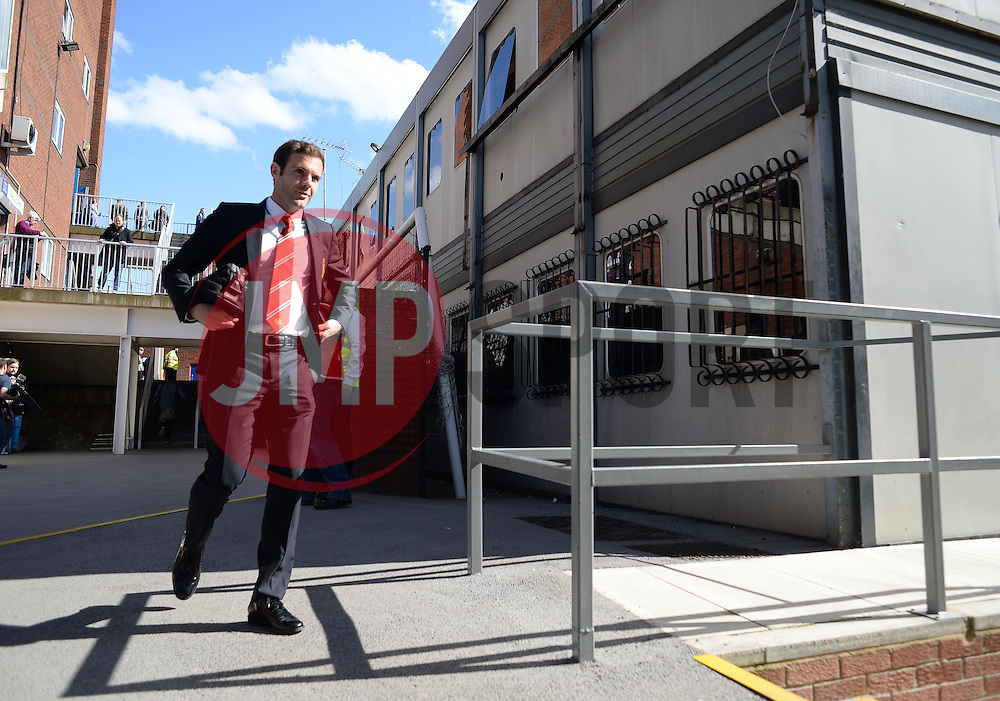 Manchester United's Juan Mata arrives at Selhurst Park. - Photo mandatory by-line: Alex James/JMP - Mobile: 07966 386802 - 09/05/2015 - SPORT - Football - London - Selhurst Park - Crystal Palace v Manchester United - Barclays Premier League