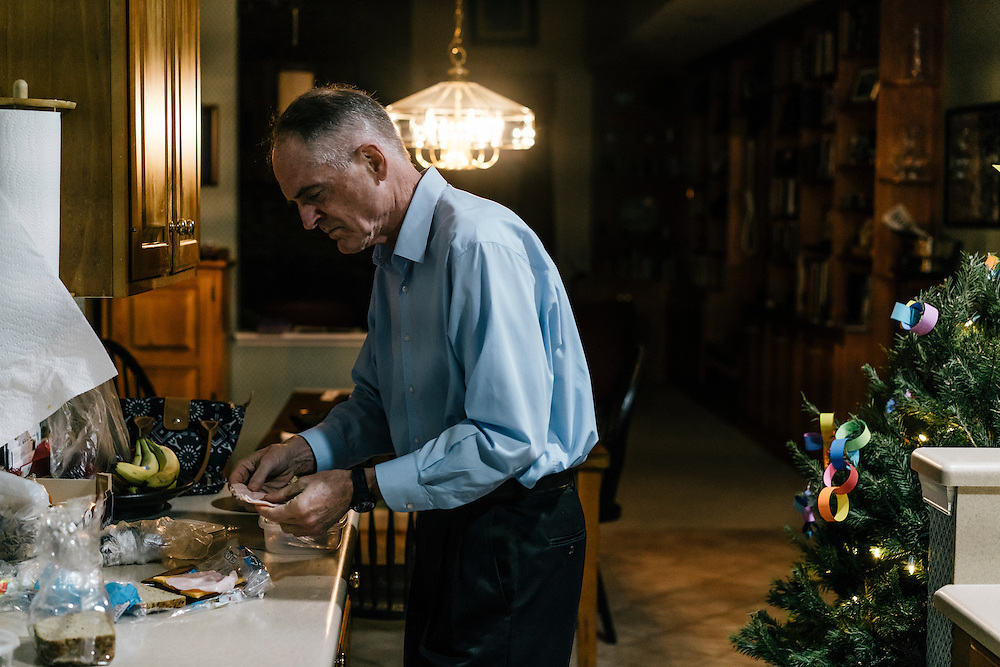 Jared Taylor, editor of the white nationalist publication American Renaissance and a member of the so-called alt-right, a far-right fringe movement that embraces white nationalism and a range of racist and anti-immigrant positions, fixes lunch for his teenage daughter at his home in Virginia on Dec. 5, 2016.