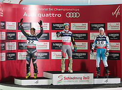 11.02.2013, Planai, Schladming, AUT, FIS Weltmeisterschaften Ski Alpin, Super Kombination, Slalom, Herren, Siegerpraesentation, im Bild Ivica Kostelic (CRO, 2. Platz), Ted Ligety (USA, 1. Platz), Romed Baumann (AUT, 3. Platz) // Ivica Kostelic of Croatia, 2nd place, Ted Ligety of United States of America, 1st place, Romed Baumann of Austria, 3rd place, Winners Presentation, after teir runs at Mens Super Combined Slalom at the FIS Ski World Championships 2013 at the Planai Course, Schladming, Austria on 2013/02/11. EXPA Pictures © 2013, PhotoCredit: EXPA/ Sammy Minkoff