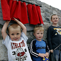 Daniel, Darren and Andrew Aylmer try to get a peek of the plack at the official opening of the Cul na Greine Housing Scheme in Shannon last Thursday.<br /> <br /> Photograph by Yvonne Vaughan.