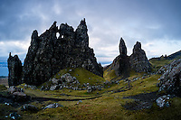 SCOTLAND - CIRCA APRIL 2016: The Old Man of Storr, a rocky hill on the Trotternish peninsula of the Isle of Skye in Scotland.