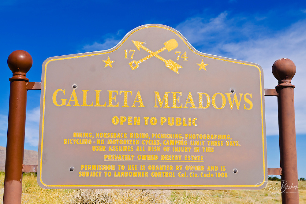 Sign at Galleta Meadows Estate, Borrego Springs, California USA